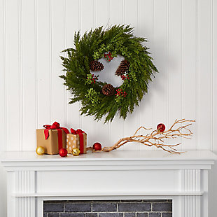 Christmas 26'' Cypress with Berries and Pine Cones Artificial Wreath, , rollover