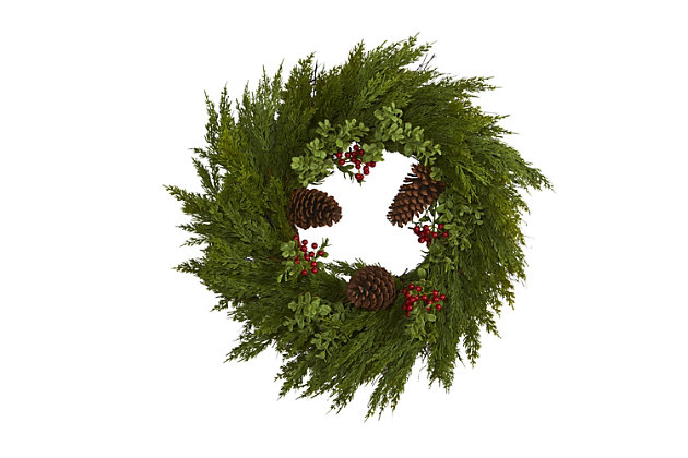 Christmas 26'' Cypress with Berries and Pine Cones Artificial Wreath, , large