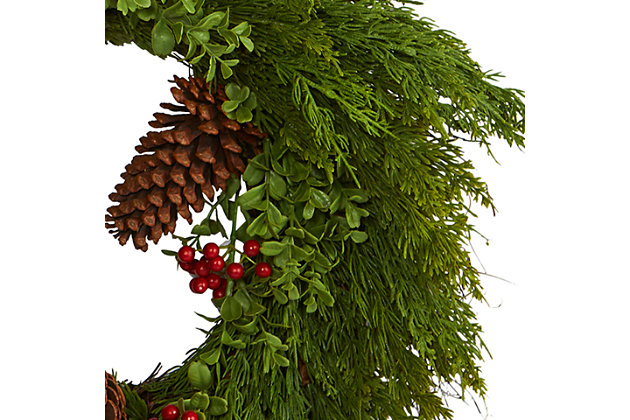 Christmas 32'' Cypress with Berries and Pine Cones Artificial Wreath, , large