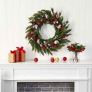 Christmas 28'' Frosted Cypress with Berries and Pine Cones Artificial Wreath, , rollover