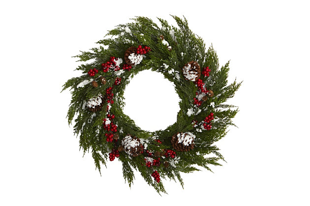 Christmas 28'' Frosted Cypress with Berries and Pine Cones Artificial Wreath, , large