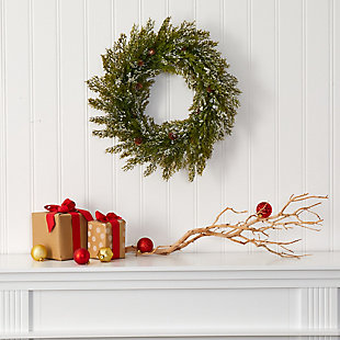 "Christmas 20"" Snowed Artificial Cedar Wreath with Pine Cones, , rollover"