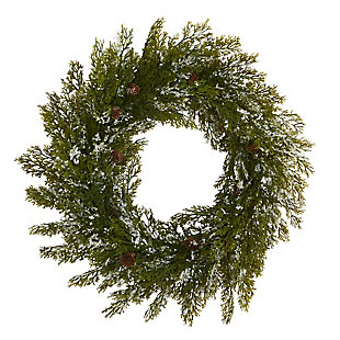 "Christmas 20"" Snowed Artificial Cedar Wreath with Pine Cones, , large"