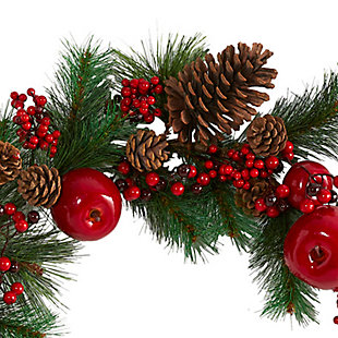 Christmas 6' Apple, Berries and Pinecone Artificial Garland, , large