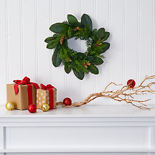 "Christmas 16"" Magnolia Leaf and Mixed Pine Artificial Wreath with Pine Cones, , rollover"