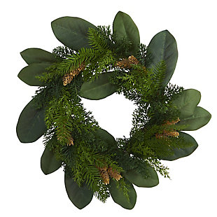 "Christmas 16"" Magnolia Leaf and Mixed Pine Artificial Wreath with Pine Cones, , large"