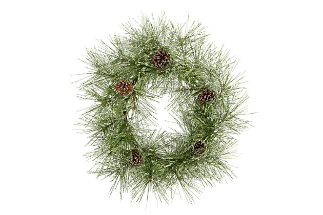 "Christmas 24"" Iced Pine Artificial Wreath with Pine Cones, , large"