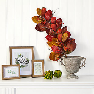 "Harvest 36"" Autumn Magnolia Leaf with Berries Artificial Tear Drop, , rollover"
