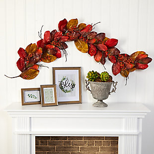 Harvest 6' Autumn Magnolia Leaf with Berries Artificial Garland, , rollover