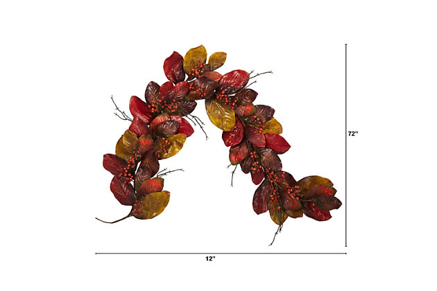 Harvest 6' Autumn Magnolia Leaf with Berries Artificial Garland, , large