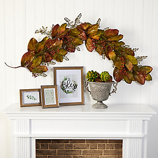 Harvest 6' Autumn Magnolia Leaf and Berries Artificial Garland, , rollover