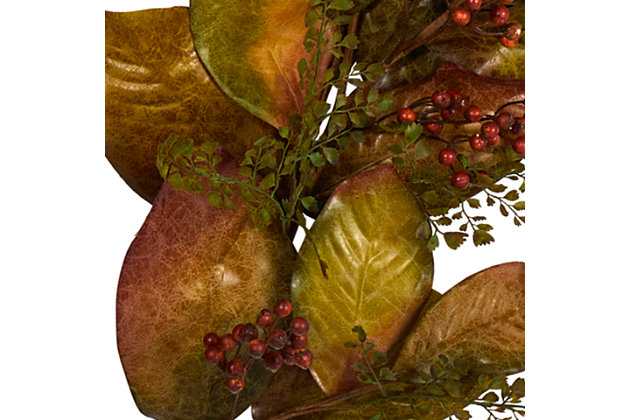 Harvest 6' Autumn Magnolia Leaf and Berries Artificial Garland, , large