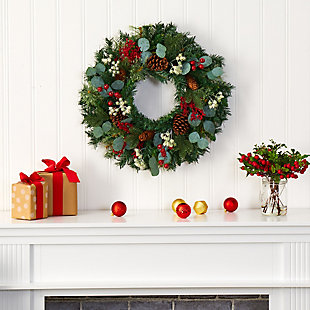 "Christmas 24"" Eucalyptus and Pine Artificial Wreath with Berries and Pine Cones, , rollover"