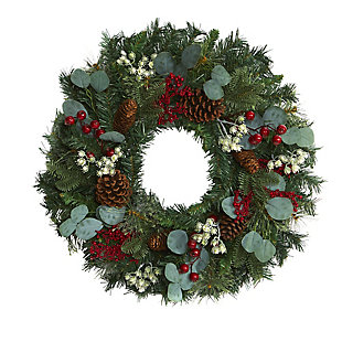 "Christmas 24"" Eucalyptus and Pine Artificial Wreath with Berries and Pine Cones, , large"
