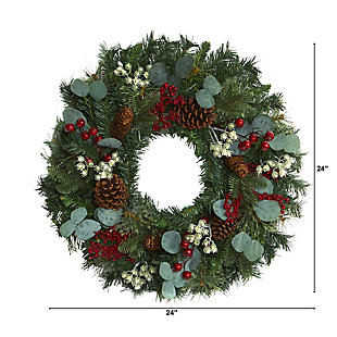 """Christmas 24"""" Eucalyptus and Pine Artificial Wreath with Berries and Pine Cones, , large"""