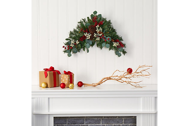 """Christmas 28"""" Eucalyptus and Pine Artificial Swag with Berries and Pine Cones, , large"""