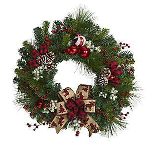 "Christmas 24"" Christmas Pine Artificial Wreath with Pine Cones and Ornaments, , large"