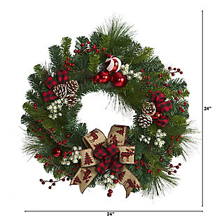 """Christmas 24"""" Christmas Pine Artificial Wreath with Pine Cones and Ornaments, , large"""