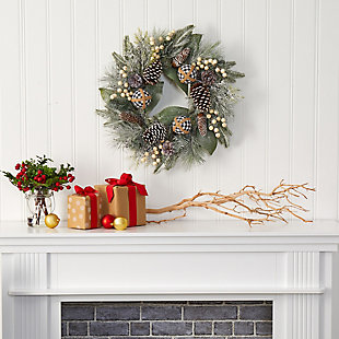 "Christmas 24"" Snow Tipped Holiday Artificial Wreath with Berries, Pine Cones and Ornaments, , rollover"