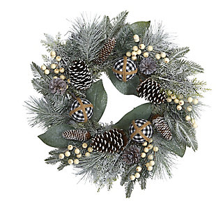 "Christmas 24"" Snow Tipped Holiday Artificial Wreath with Berries, Pine Cones and Ornaments, , large"