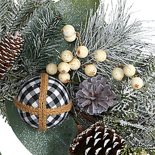 """Christmas 24"""" Snow Tipped Holiday Artificial Wreath with Berries, Pine Cones and Ornaments, , large"""