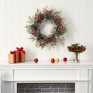 "Christmas 24"" Pine and Cedar Artificial Wreath with Berries, , rollover"
