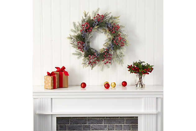 "Christmas 24"" Pine and Cedar Artificial Wreath with Berries, , large"