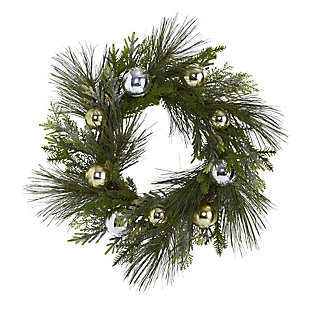 """Christmas 26"""" Sparkling Pine Artificial Wreath with Decorative Ornaments, , large"""
