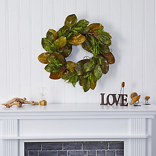 "Christmas 26"" Magnolia Leaf Artificial Wreath, , rollover"
