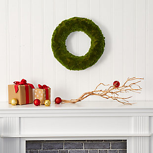 "Christmas 18"" Moss Artificial Wreath, , rollover"
