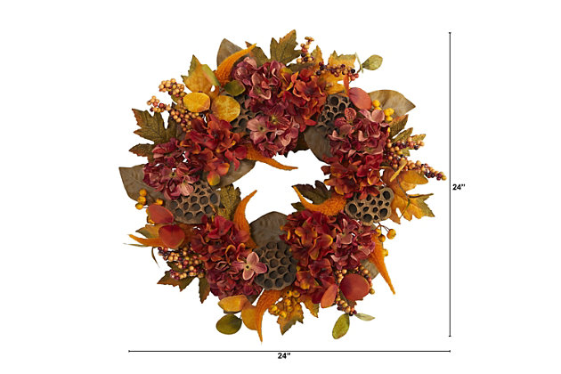 "Harvest 24"" Fall Hydrangea, Lotus and Berries Artificial Wreath, , large"