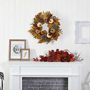 "Harvest 24"" Fall Pumpkins, Pine Cones and Berries Artificial Wreath, , rollover"