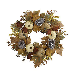 "Harvest 24"" Fall Pumpkins, Pine Cones and Berries Artificial Wreath, , large"
