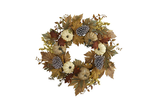"""Harvest 24"""" Fall Pumpkins, Pine Cones and Berries Artificial Wreath, , large"""