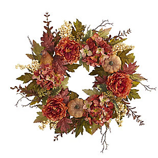 "Harvest 24"" Peony, Hydrangea and Pumpkin Fall Artificial Wreath, , large"