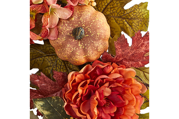 """Harvest 24"""" Peony, Hydrangea and Pumpkin Fall Artificial Wreath, , large"""