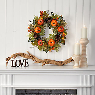 "Harvest 24"" Pumpkins, Pine Cones and Berries Fall Artificial Wreath, , rollover"