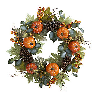 "Harvest 24"" Pumpkins, Pine Cones and Berries Fall Artificial Wreath, , large"
