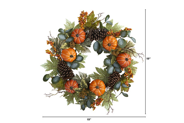"""Harvest 24"""" Pumpkins, Pine Cones and Berries Fall Artificial Wreath, , large"""