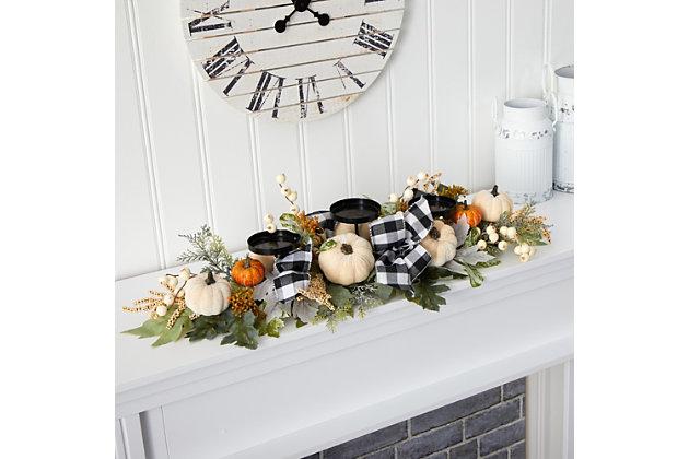 "Harvest 32"" White Pumpkin and Berries Artificial Candelabrum, , large"
