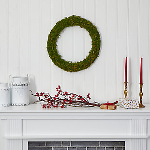 "Christmas 20"" Moss Artificial Wreath, , rollover"