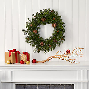 "Christmas 18"" Alpine Pine and Pine Cone Artificial Wreath, , rollover"