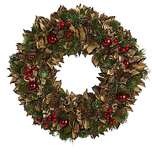 """Christmas 15"""" Holiday Artificial Wreath with Pine Cones and Ornaments, , large"""