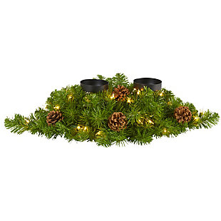 "Christmas 24"" Artificial Christmas Double Candelabrum with 35 Warm White Lights and Pine Cones, , large"