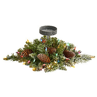 "Christmas 16"" Flocked Artificial Christmas Pine Candelabrum with 35 Multicolored Lights and Pine Cones, , large"