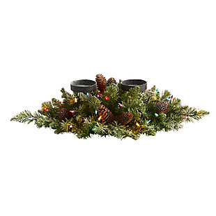 "Christmas 24"" Flocked Artificial Christmas Double Candelabrum with 35 Multicolored Lights and Pine Cones, , large"