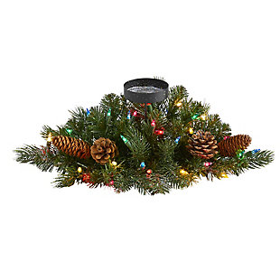 """Christmas 16"""" Flocked and Glittered Artificial Christmas Pine Candelabrum with 35 Multicolored Lights and Pine Cones, , large"""
