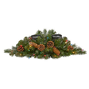 """Christmas 24"""" Flocked and Glittered Artificial Christmas Double Candelabrum with 35 Multicolored Lights and Pine Cones, , large"""