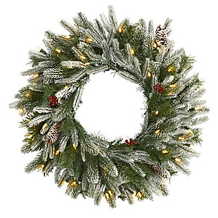 "Christmas 24"" Snowed Artificial Christmas Wreath with 50 Warm White LED Lights and Pine Cones, , large"