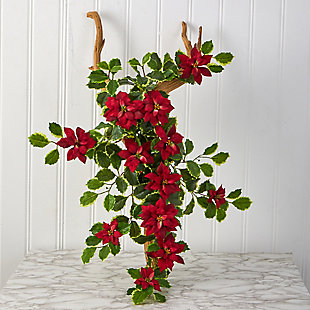 """Christmas 30"""" Poinsettia and Variegated Holly Artificial Plant (Set of 2) (Real Touch), , rollover"""